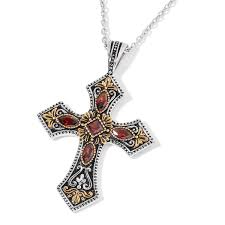 simulated red diamond ion plated yg and stainless steel cross pendant with chain 20 in