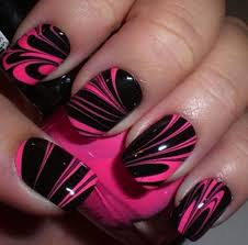 pink black water marble nails