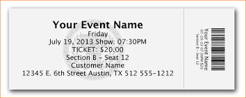 Show Ticket Template Ticket Samples Template Templates For Tickets With Stubs Dtk