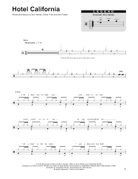 Hotel California Strumming Pattern Fascinating Hotel California Sheet Music By Eagles Drums Transcription 48