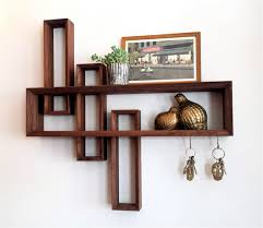 entryway organizer mid century modern floating shelf walnut shelf shelving geometric midcentury uncoverly