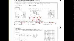 13 6 graphing linear equations
