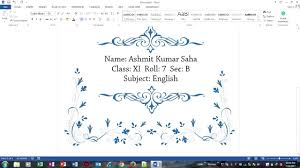 Cover Page For Project Make A Beautiful Front Page For School Asignment Projects In