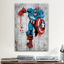 iCanvas Marvel Comic Book: Captain America Spray Paint Canvas Print Wall Art  - Free Shipping On Orders Over $45 - Overstock.com - 16671320