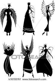 セット の ベクトル シルエット 美しい 妖精 飛行 天使 クリップアート切り張りイラスト絵画集