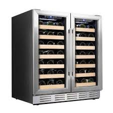 wine cooler 66 bottle dual zone built in and freestanding with stainless