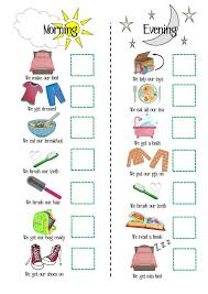 Toddler Schedule Chart Kids Routine Printable Morning Routine Evening Routine