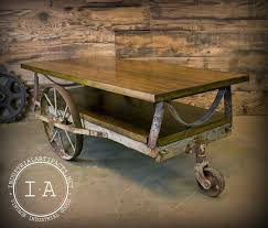 Industrial Factory Cart Coffee Table Vintage Industrial Janesway Rumble Factory Cart Railroad Cart