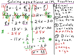 solving equations with fractions math algebra solving equations showme