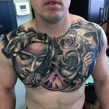 chest tattoo designs. Fine Tattoo Awesome Virgin Mary With Dove Roses Clock Composition Tattoo On Chest To Designs T
