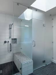 frosted shower doors. Frosted Glass Doors And Room Divider For Modern Minimalist Bathroom Design With Wall Mounted Shower Black Vinyl Floor Tiles Ideas