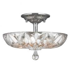 Chrome Flush Mount Ceiling Light Mansfield 4 Light Chrome Finish And Clear Crystal Bowl Semi