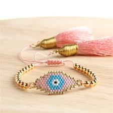 <b>Shinus 10pcs lot</b> Evil Eye Bracelet <b>Miyuki</b> Delica Beads Tassel ...