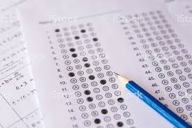 Pencil On Answer Sheets Or Standardized Test Form With Answers ...
