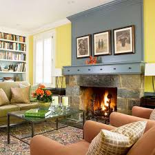 Yellow Walls Living Room Interior Decor Decorating Beautiful Home Decor Ideas For Wall Next To Fireplace