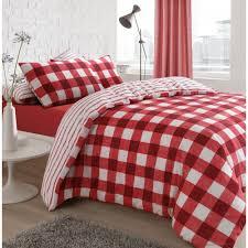 gingham check red reversible duvet quilt cover bedding pillow case double 452170 p5638 15388 image jpg
