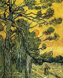 vincent van gogh pine trees against an evening sky oil painting reion