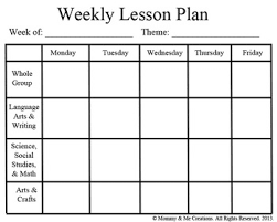 Lesson Plan Sheets Weekly Preschool Lesson Plan Template