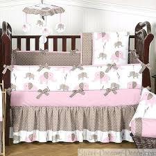 elephant pink 9 piece baby girl crib bedding set