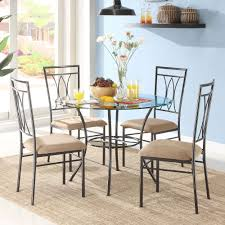 Mainstays 5 Piece Glass And Metal Dining Set Walmartcom