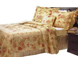 victorian rose print bedding vintage fl quilt set twin full queen king bedspread beige red