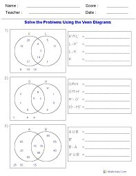 Venn Diagram Worksheets - Set Notation Problems Using Two Sets ...