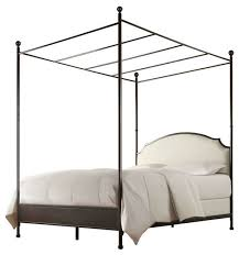 Metal Canopy Bed With Linen Upholstered Headboard Cream White