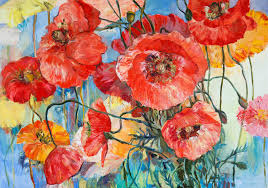 red poppies on yellow and blue oil on canvas ilration stock ilration ilration of