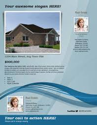 real estate flyer template blue