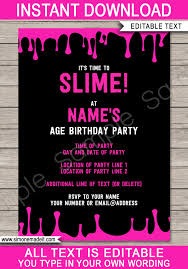 Slime Party Invitations Template Pink