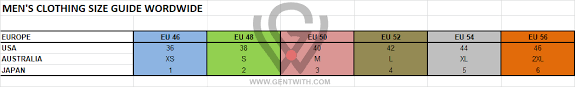 Gentwith Size Charts Gentwith