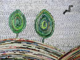Upcycled Wall Art Large Scenic View Picture Using Upcycled Magazine Paper Discovered