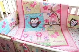 pink owls flowers girl crib bedding set includes applique quilt fitted sheet for baby cot kit enchanted owls family baby