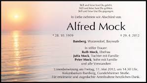 Alfred Mock | Traueranzeige | trauer.inFranken.de