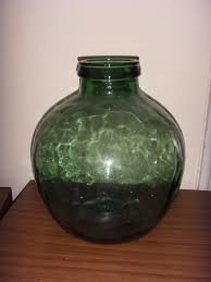 very large green glass round vase globe bottle jar indoor garden holder lights