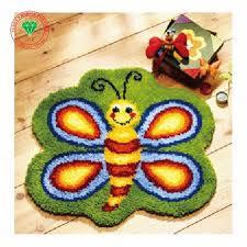 latch hook rug kits bee cartoo diy needlework unfinished crocheting rug yarn cushion mat home decoration