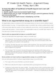 topics for argument essay 8th grade q4 health topics essay essays argument