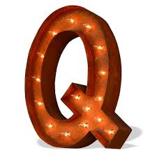 Home  Wall Decor; Letter Q Rusted Marquee Lighted Sign. Zoom
