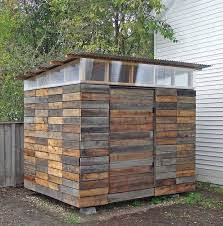 garden shed made from reclaimed redwood find this pin and more on pallet shed ideas