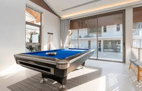 a pool table in an apartment