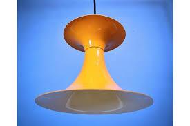 mid century retro danish mustard yellow metal ceiling pendant light lamp 60s 70s photo 1