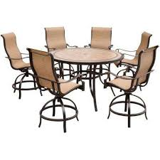 monaco 7 piece aluminum outdoor high dining set with round tile top table and