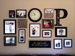 collage wall frames decorating living room with initial photo ideas white