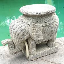 Vintage Natural Wicker Elephant Side Table / Plant Stand