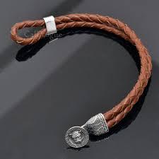 sterling silver mens bracelets tiger 925 silver mens leather bracelets tan brown