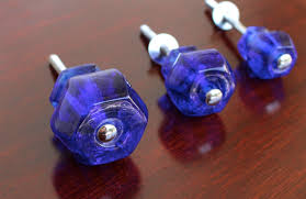 cobalt blue glass cabinet knobs