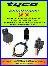 tyco formerly bosch relays for your bird wanderlodge owners group i also sell just the relay socket pigtails if that is all that you need email me for prices on those