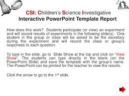 Ppt - Csi: C Hildren's S Cience I Nvestigative Interactive ...