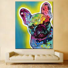 large size print oil painting wall painting french bulldog home decorative wall art picture for living