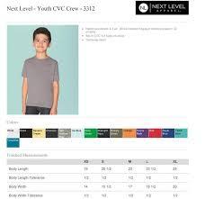 Next Level Youth Cvc Size Chart Tennessee Shirt Company